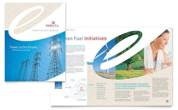 Utility  Energy Company Brochure Template - Word  Publisher - Company Brochure Templates