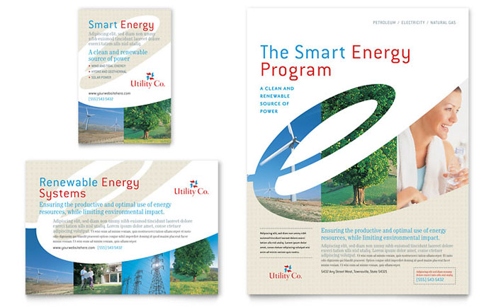 Utility  Energy Company Flyer  Ad Template - Word  Publisher