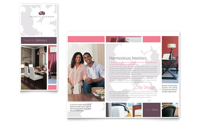 Interior Designer Tri Fold Brochure Template - Word  Publisher - interior design brochure template