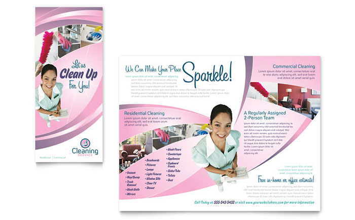 House Cleaning  Maid Services Brochure Template - Word  Publisher