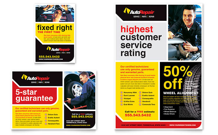 Auto Repair Flyer  Ad Template - Word  Publisher