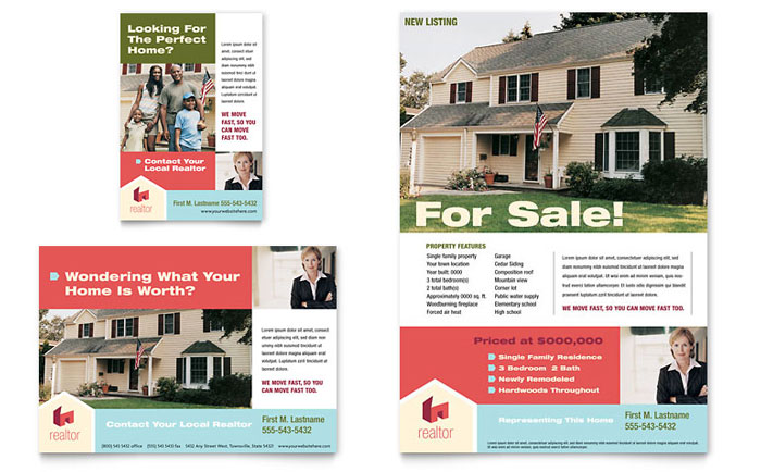 Home Real Estate Flyer  Ad Template - Word  Publisher
