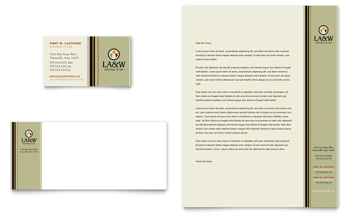 Lawyer  Law Firm Business Card  Letterhead Template - Word  Publisher