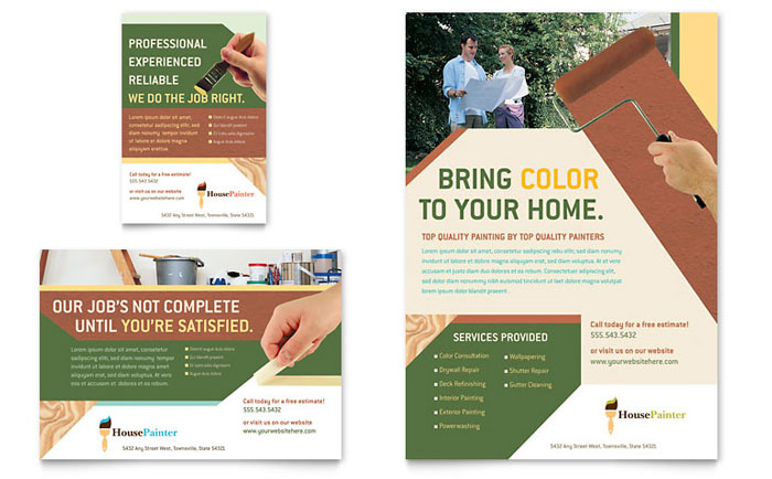 Painter  Painting Contractor Flyer  Ad Template - Word  Publisher - advertising flyer template