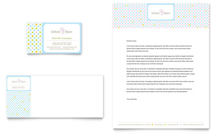 Infant Care  Babysitting Business Card  Letterhead Template - Word - baby sitting cards