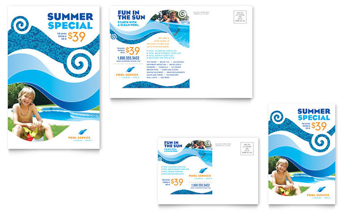 Swimming Pool Cleaning Service Postcard Template - Word  Publisher
