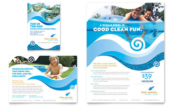 Swimming Pool Cleaning Service Flyer  Ad Template - Word  Publisher