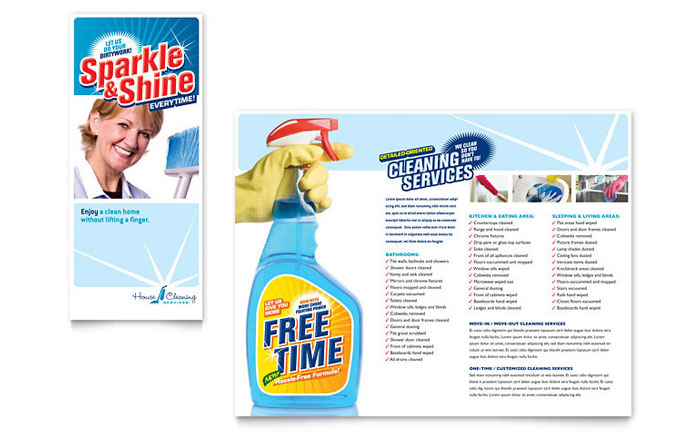 House Cleaning  Housekeeping Brochure Template - Word  Publisher