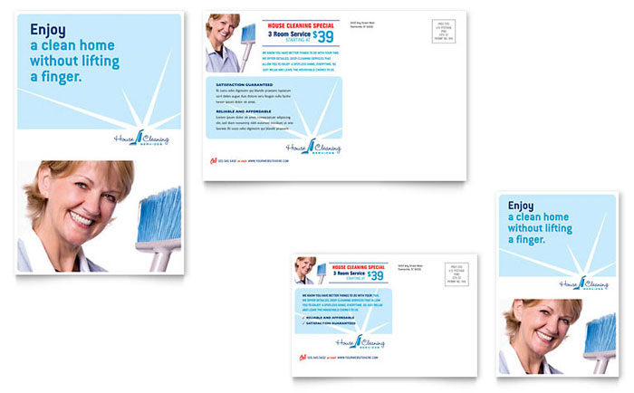 House Cleaning  Housekeeping Postcard Template - Word  Publisher