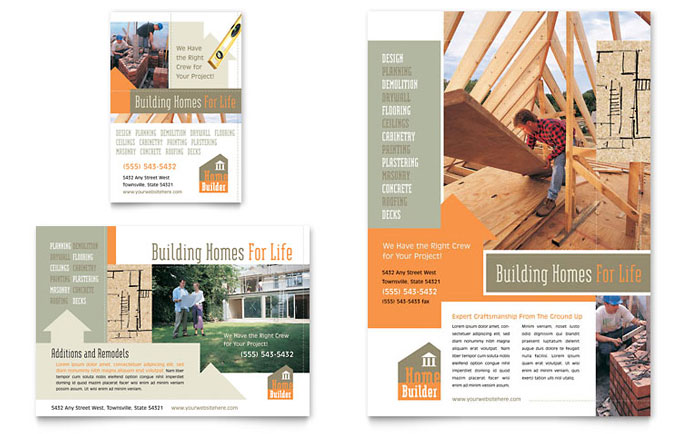 Home Building Carpentry Flyer  Ad Template - Word  Publisher