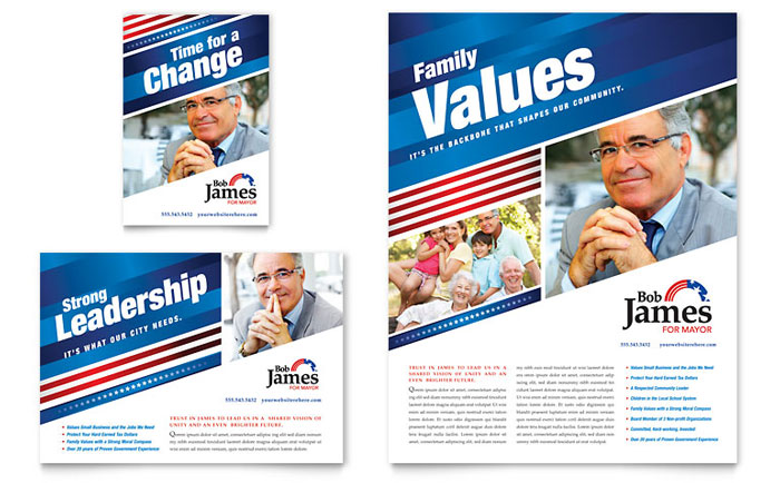 Political Campaign Flyer  Ad Template - Word  Publisher