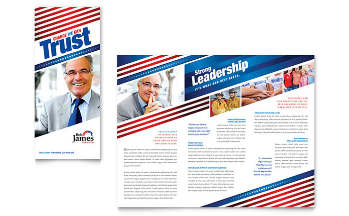 Political Campaign Tri Fold Brochure Template - Word  Publisher
