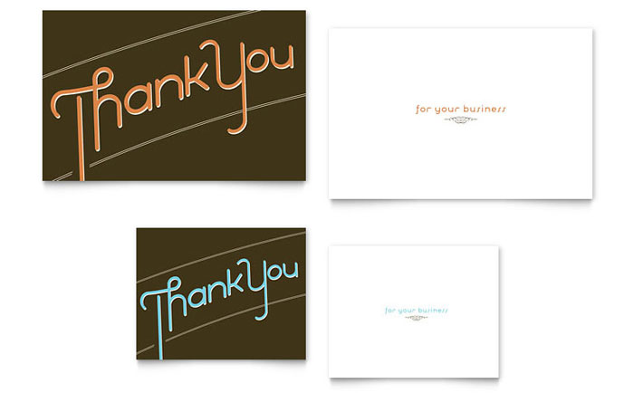 Thank You Note Card Template - Word  Publisher