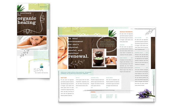 Day Spa Tri Fold Brochure Template - Word  Publisher