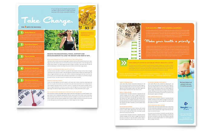 Weight Loss Clinic Datasheet Template - Word  Publisher