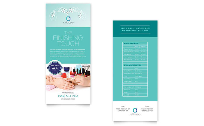 Nail Technician Rack Card Template - Word  Publisher