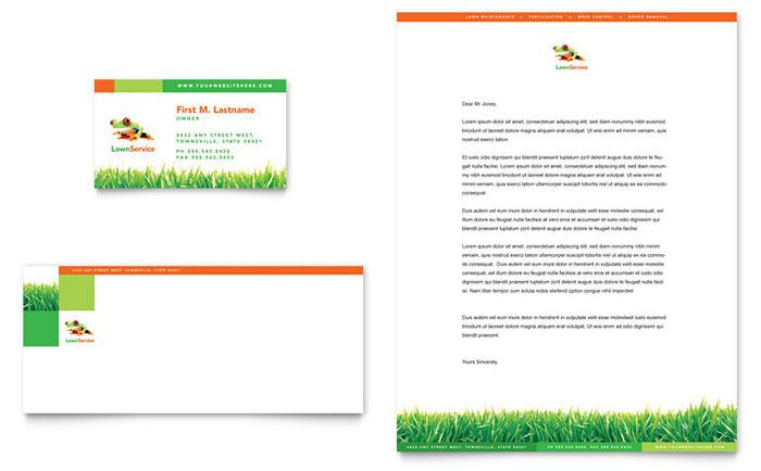 Lawn Maintenance Business Card  Letterhead Template - Word  Publisher