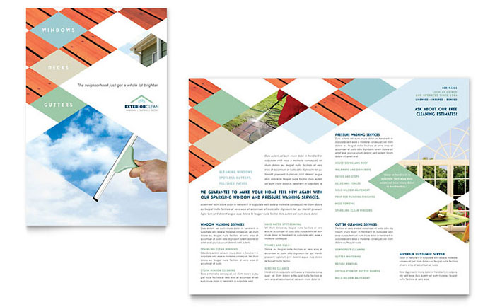 Window Cleaning  Pressure Washing Brochure Template - Word  Publisher