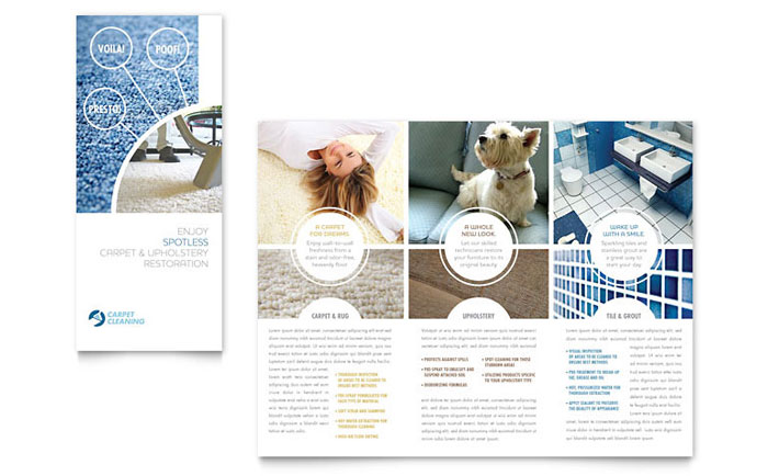 Carpet Cleaning Tri Fold Brochure Template - Word  Publisher