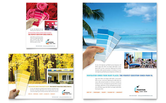 House Painting Contractor Flyer  Ad Template - Word  Publisher
