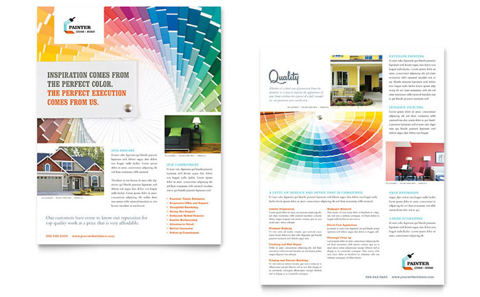 House Painting Contractor Datasheet Template - Word  Publisher