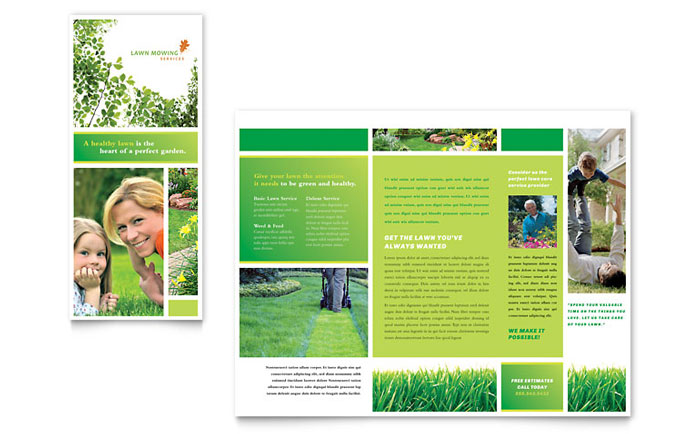 Lawn Mowing Service Brochure Template - Word  Publisher - Free Pamphlet Templates Microsoft Word