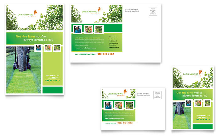 Lawn Mowing Service Postcard Template - Word  Publisher