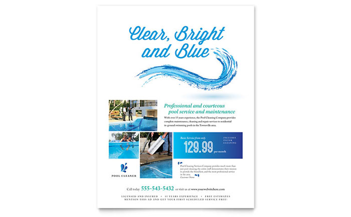 Pool Service Flyer Template - Word  Publisher