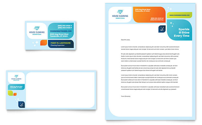 Cleaning Services Business Card  Letterhead Template - Word  Publisher - microsoft stationery template