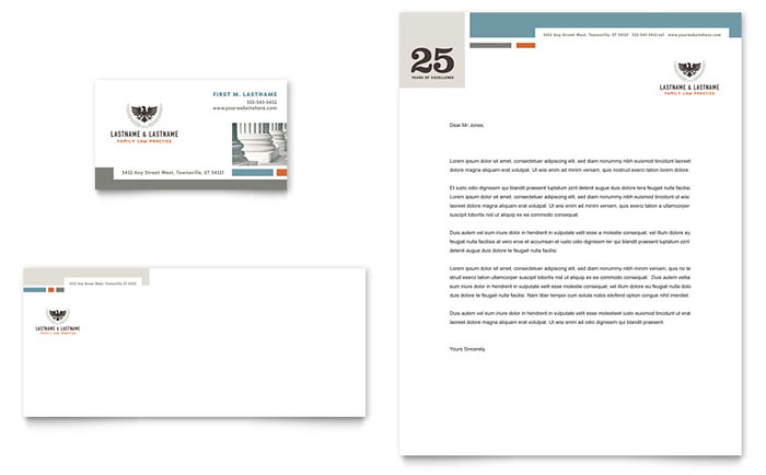 Family Law Attorneys Business Card  Letterhead Template - Word - legal template word