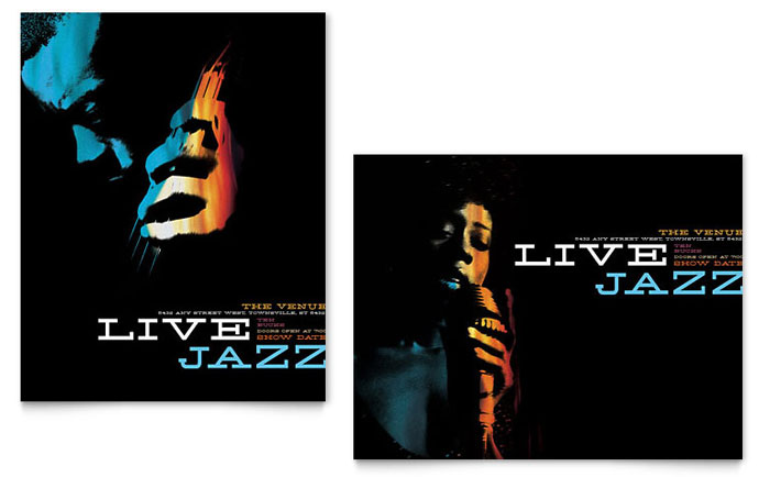 Jazz Music Event Poster Template - Word  Publisher