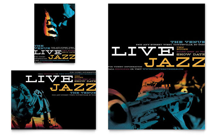 Jazz Music Event Flyer  Ad Template - Word  Publisher