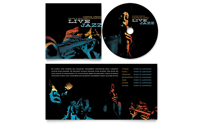 Jazz Music Event CD Booklet Template - Word  Publisher