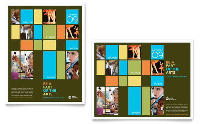 Arts Council  Education Poster Template - Word  Publisher