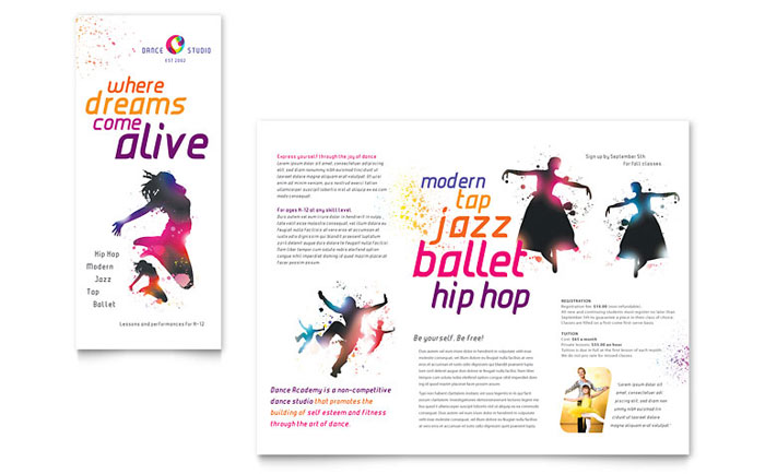 Dance Studio Brochure Template - Word  Publisher - studio brochure