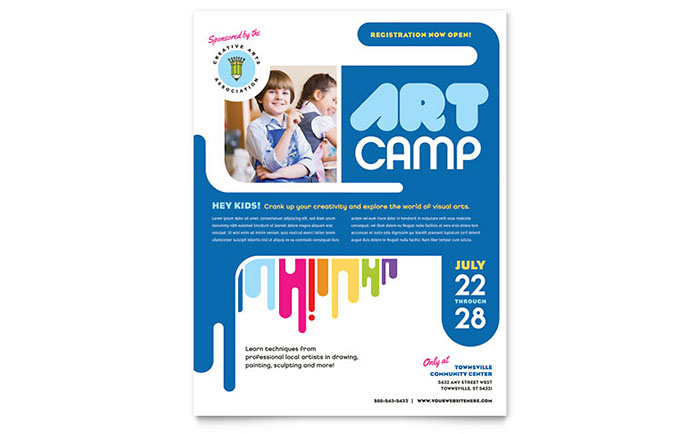 Kids Art Camp Flyer Template - Word  Publisher