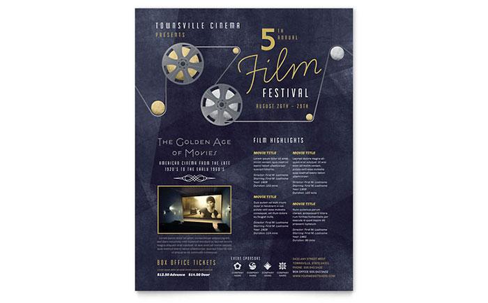 Film Festival Flyer Template - Word  Publisher