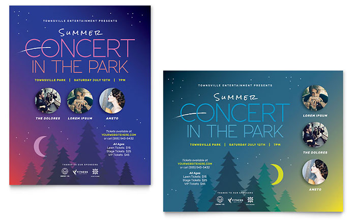 Summer Concert Poster Template - Word  Publisher