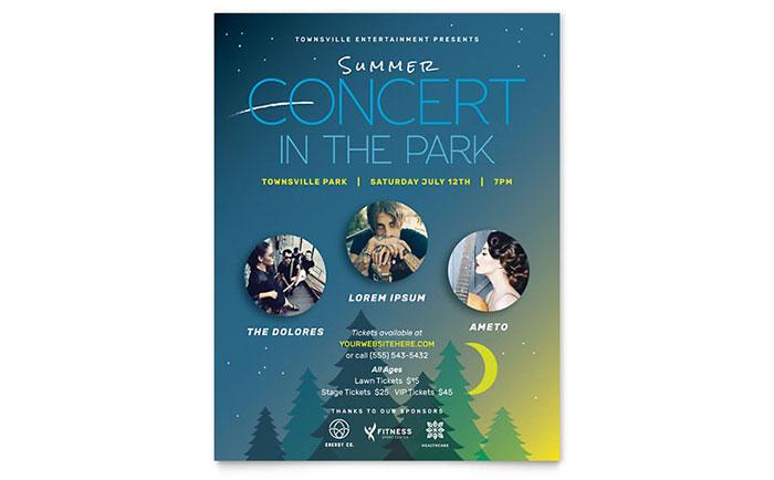 Summer Concert Flyer Template - Word  Publisher