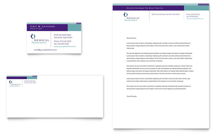 Medical Insurance Company Business Card  Letterhead Template - Word
