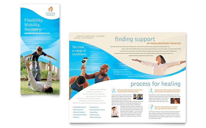 Physical Therapist Brochure Template - Word  Publisher - phamplet template