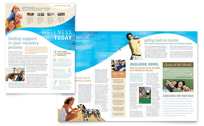 Physical Therapist Newsletter Template - Word  Publisher - Medical Newsletter Templates Free