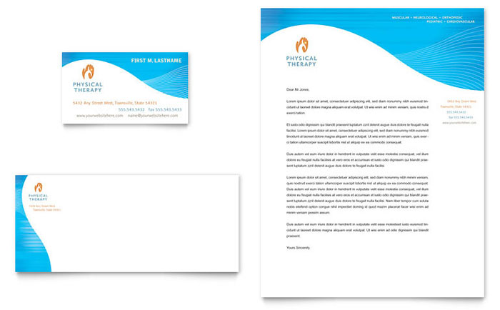 Physical Therapist Business Card  Letterhead Template - Word