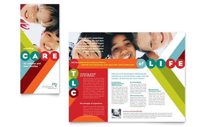 Pediatrician  Child Care Brochure Template - Word  Publisher - brochures templates word