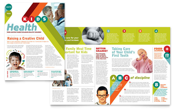 Pediatrician  Child Care Newsletter Template - Word  Publisher