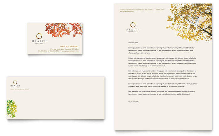 Health Insurance Company Business Card  Letterhead Template - Word