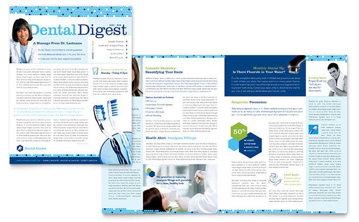 Dentistry  Dental Office Newsletter Template - Word  Publisher