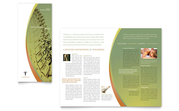 Massage  Chiropractic Tri Fold Brochure Template - Word  Publisher