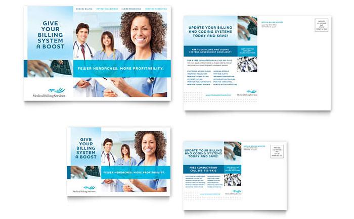 Medical Billing  Coding Postcard Template - Word  Publisher