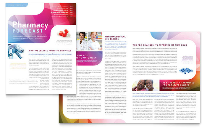 Pharmacy School Newsletter Template - Word  Publisher - news letter formats